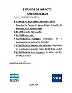 Tapa del estudio de impacto ambiental